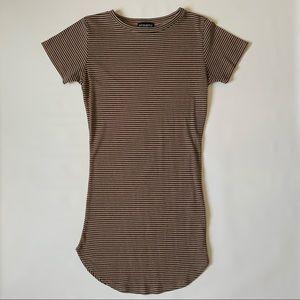 Revamped ribbed stripes short sleeve dress